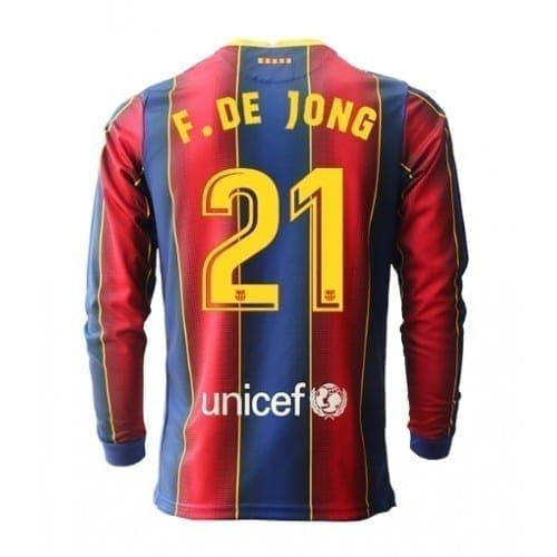 Футболка Фрэнки Де Йонг 21 Барселона 2020-2021 длинный рукав