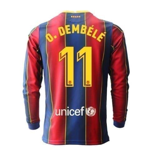 Футболка Дембеле 11 Барселона 2020-2021 длинный рукав