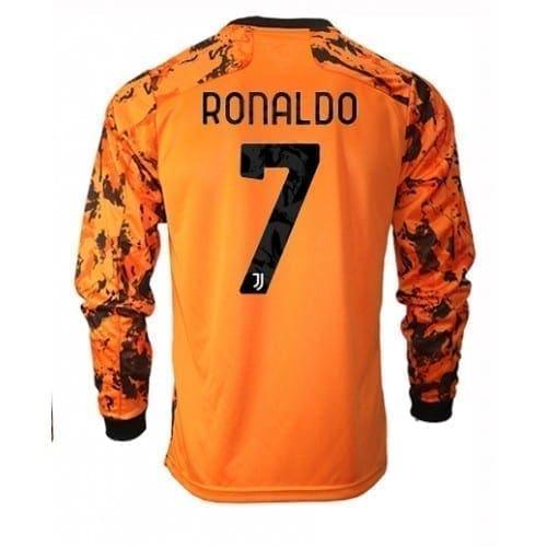 Оранжевая футболка Ювентус Роналдо с длинными рукавами