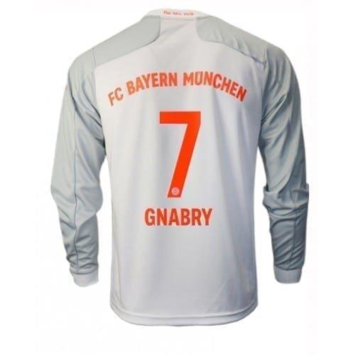 Белая футболка Баварии Серж Гнабри Длинный рукав 2020-2021