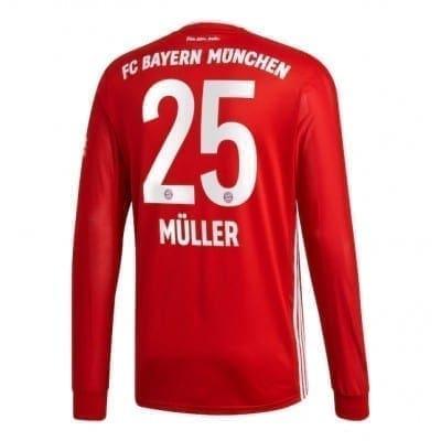 Домашняя футболка Мюллер Бавария Мюнхен длинный рукав 2020-2021
