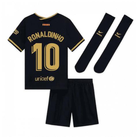 Чёрная детская футбольная форма Рональдиньо Барселона с гетрами