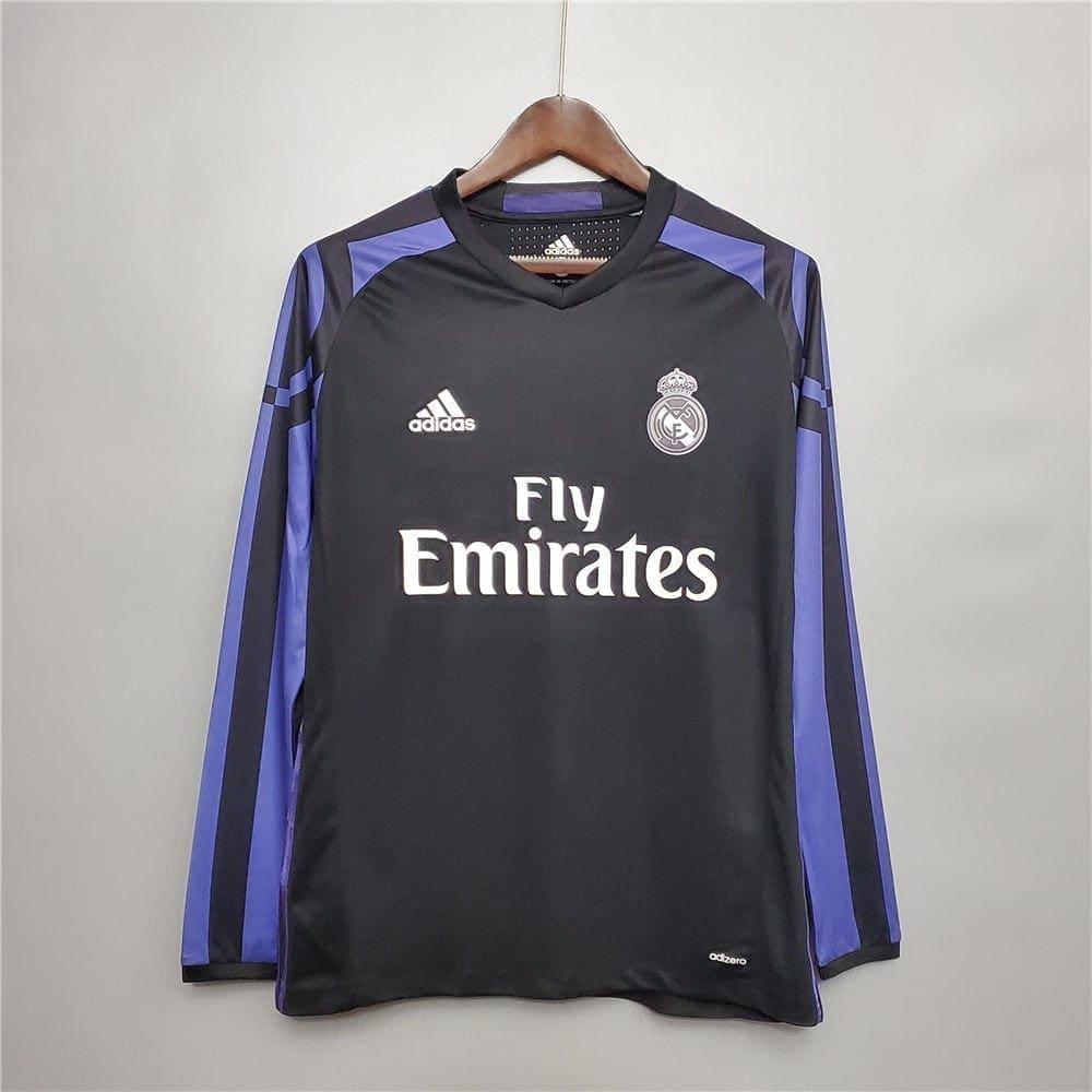 Ретро футболка Реал Мадрид гостевая 2015-2016 Длинный рукав