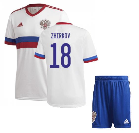 Белая футбольная форма Россия Жирков Евро 2020