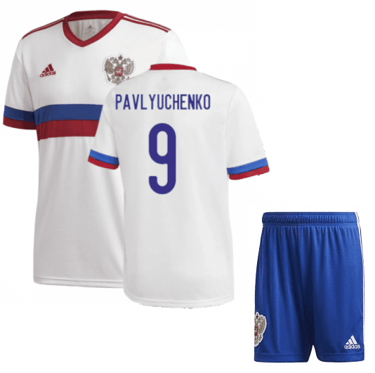 Белая футбольная форма Россия Павлюченко Евро 2020