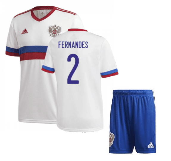 Белая футбольная форма Россия Фернандес Евро 2020
