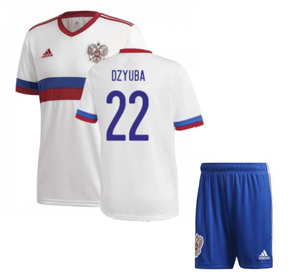 Белая футбольная форма Россия Дзюба Евро 2020