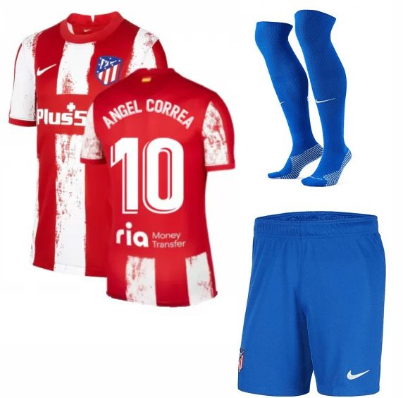 Футбольная форма Анхель Корреа 10 Атлетико Мадрид 2022 с гетрами