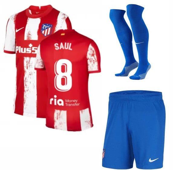 Футбольная форма Сауль 8 Атлетико Мадрид 2022 с гетрами