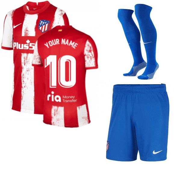Форма Атлетико Мадрид 2022 с именем номером и гетрами
