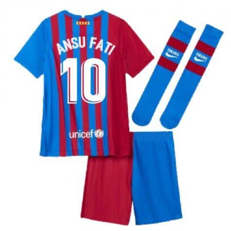 Детская форма Барселона 2021-2022 Ансу Фати 10 с гетрами