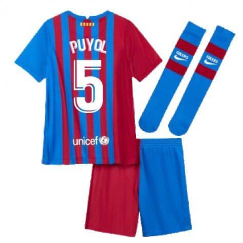 Детская форма Барселона 2021-2022 Пуйоль 5 с гетрами