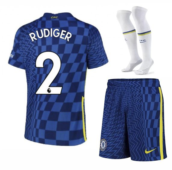 Футбольная форма Рюдигер 2 Челси 2022 с гетрами